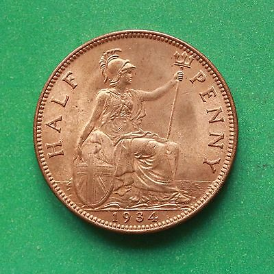 1934 - George V - Half-Penny - Uncirculated - Good lustre cover - SNo43114