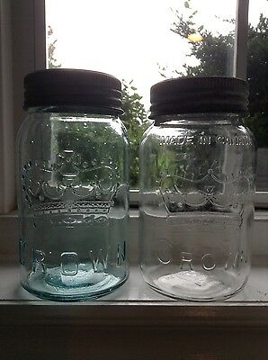 Great condition early Aqua and clear 1955 Quart CROWN Canning Jars