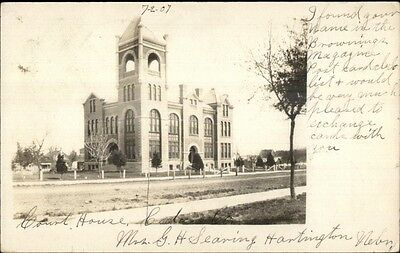 Court House - Hartington NE Cancel c1910 Real Photo Postcard