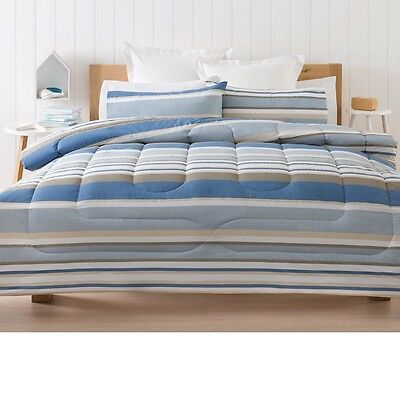 Blue White Stripe Lonsdale Comforter Set Double/Queen/King Bed