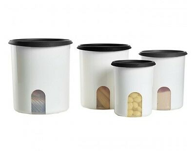 Tupperware Modular Mates One Touch Reminder Canister Set Black Seals