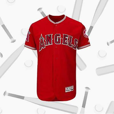 Los Angeles Angels of Anaheim Alternate Scarlet Baseball Jersey Red Blank