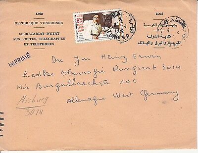 Tunisienne Tunisia 1972 cover to Germany