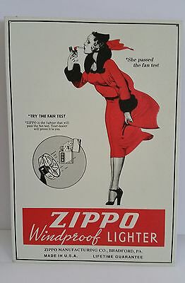 ZIPPO LIGHTERS Windy Varga Girl Embossed TIN SIGN TRY THE FAN TEST 1993 Vintage
