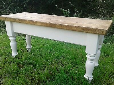 3 foot rustic pine shabby chic bench