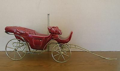 Metlox Carriage #625 Planter Victorian Ceramic APPX 11 IN LONG red/maroon
