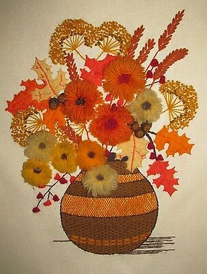 Completed Crewel Embroidery Autumn Leaves Flowers in Vase Sunset Designs