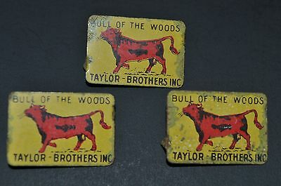 3 Vintage Bull of the Woods Metal Tobacco Tags