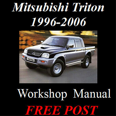 Mitsubishi Triton 1996 - 2006 Turbo 4Wd 2Wd Factory Workshop Manual On Cd