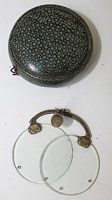 RARE Round SHAGREEN CASE !700s with spectacles!!Museum rare!!