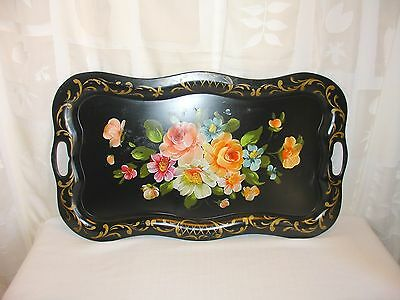 Vintage Toleware Serving Tray Hand Painted Large 24X14 Roses Vanity Handled