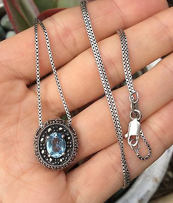 Vintage Sterling Silver 925 Necklace chain & pendant with sparkly Natural Topaz
