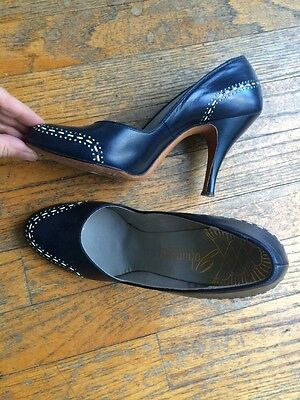 Vintage 1950's Navy Leather Pumps Shoes Heels 6 Narrow (5 M) VLV Rockabilly