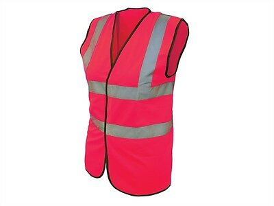 High Visibility Hi Vis Pink Waistcoat Jacket Reflective Bands Various Sizes