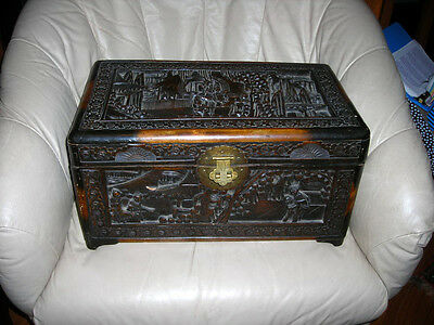 Lovely Antique Hand Carved Chinese Wood Box 18X11X9