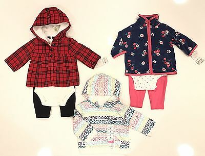 New 7 pc lot Baby Girls Clothing size 3 Months ( Jumping Bears/Carters )
