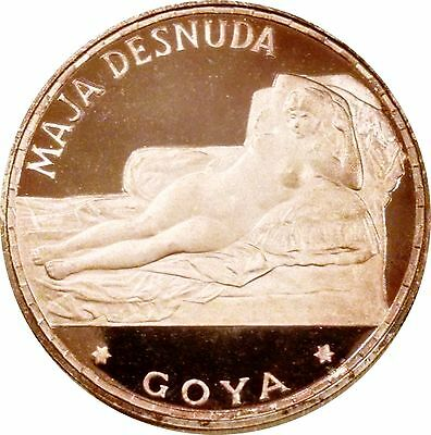 Equatorial Guinea 1970 100 Ptas Naked Maja Desnuda Silver Proof In Original Case