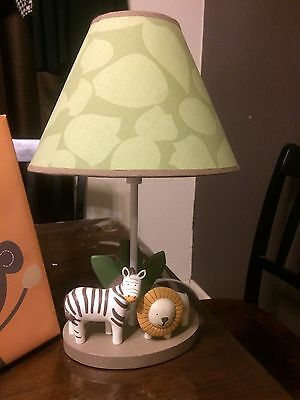 Baby Monkey/Lion/Zebra  Green Canvas Pictures & Lamp Set For Nursery