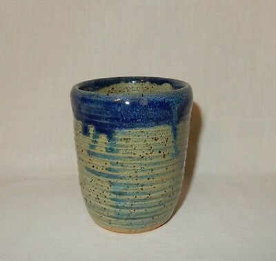 Handthrown Stoneware Cup Glass Cobalt Blue Drip & Gray/White Signed Ada