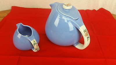 Hall's Superior Quality Kitchenware Blue ROSE PARADE Teapot/Lid/Matching Cream