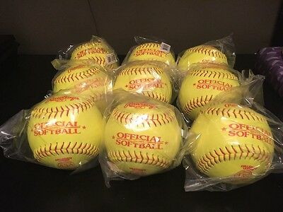 """9 NEW SOFTBALLS 12""""  RAWLINGS Official ASA ASA12Y47L Collegiate Leather Sealed"""