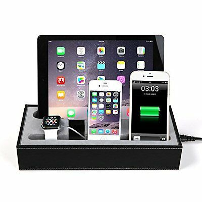 Charging Station Device Stand Cradle Holder For Apple Watch IPhone Tablets Black