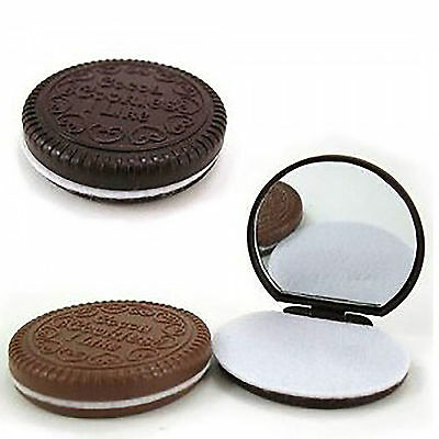 Mini Cute Pocket Magic Chocolate Cookie Compact Makeup Mirror Comb Gift