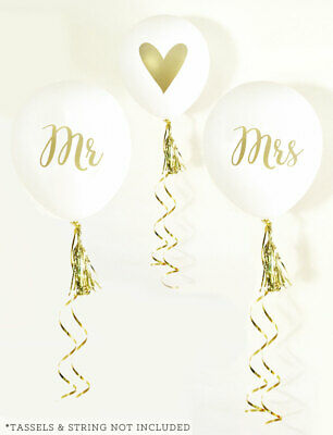 Mr and Mrs Balloons Set of 3 White Wedding Balloons with Gold Prints