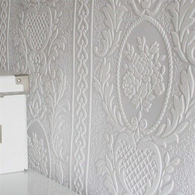White Paintable Highly Embossed Cameo Stripe wallpaper - French Provincial