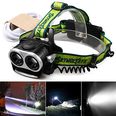 T6 8000LM LED Lampe Frontale phare Vélo Head Torche+18650 USB Rechargeable