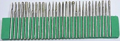 30Pcs Diamond Burr Bits Drill For Engraving Etching Rotary Tool Set Lapidary