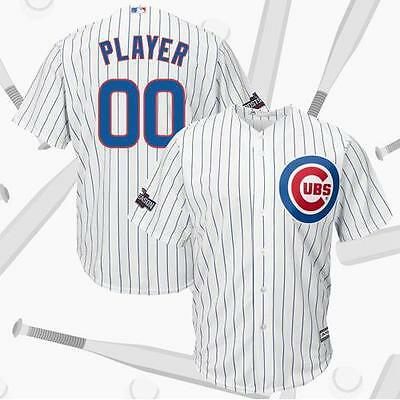 Chicago Cubs White 2016 Postseason Baseball Custom Jersey M-3XL