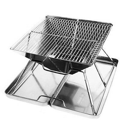 304 Stainless Steel Folding Barbeque Portable Charcoal Grill Picnic Camping