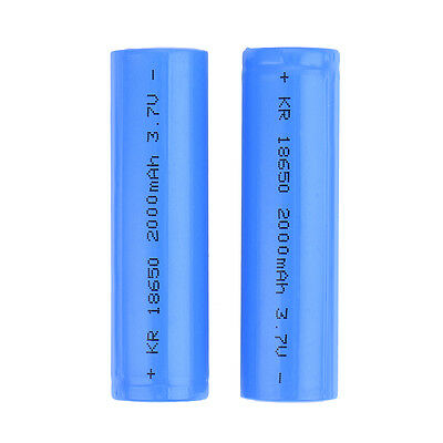 2x 2000mAh 3.7V 18650 Li-ion Rechargeable Battery Flat Top 1500 Recharge Cycles