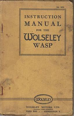 Wolseley Wasp Saloon ( 1935 - 1936 ) Original Owners Instruction Manual