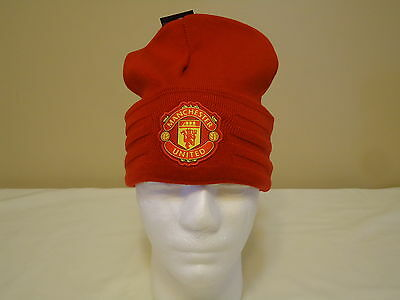 Man Utd Official Licensed Adidas Woolie Beanie Adults New Red