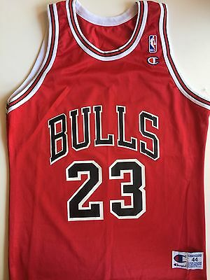 RARE Michael Jordan Chicago Bulls 23 - Champion Vintage NBA Jersey 44 Large L