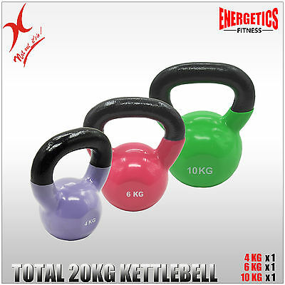 4Kg + 6Kg + 10Kg - Total 20Kg Iron Vinyl Kettlebell Weight Strength Training