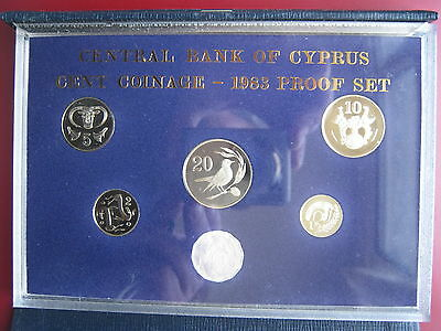 Cyprus 1983 6 coin set coinage PROOF 1/2 - 20 Cents by Royal Mint cased