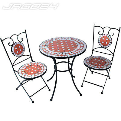 Mosaic Garden Bistro Outdoor Patio Furniture Set Table & 2 Foldable Chairs Steel