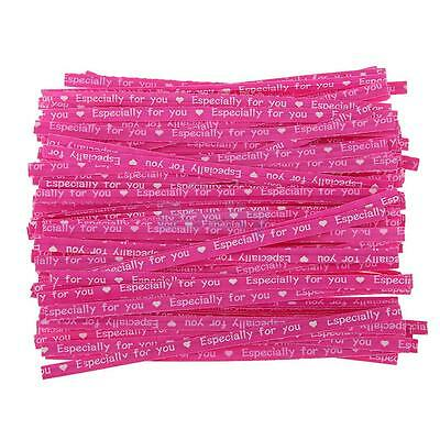 100x Kraft Paper Twist ties Wrap Cello Wedding Favor Candy Bag Rose Red