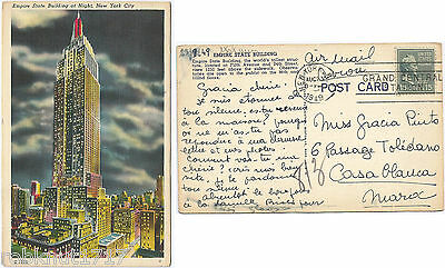 CPA 1949 postcard Empire State Building at Night NEW YORK CITY USA [1134 R]