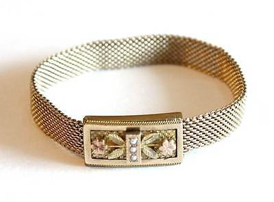Antique Victorian Gold Filled Bracelet Three Color Gold Seed Pearl Mesh