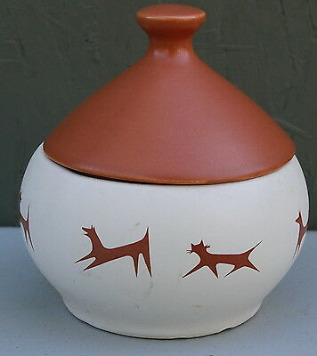 """Cat and Dog """"Native American Design"""" Ginger Jar with Bell in Lid"""