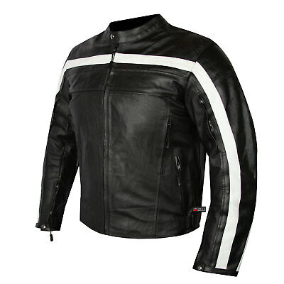 Classic Style Men's Motorcycle Leather Jacket with Armor Cowhide Black