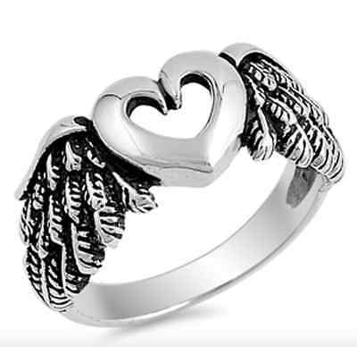 Heart with Angel Wings Ring Sterling Silver 925 Jewelry