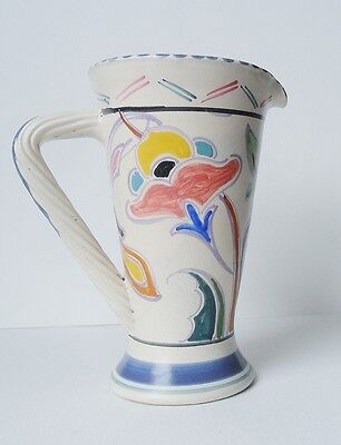 Honiton Pottery Art Deco Jug Vase Hand Painted Floral Flowers Vintage c 30s- 50s