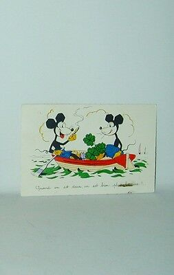 Mickey Mouse Postcard Boating With Minnie Cigar Smoking Deco Ears France 1930s