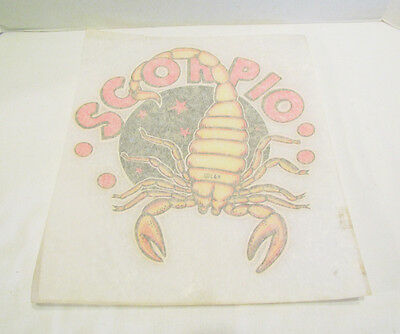 SCORPIO ZODIAC ASTROLOGY 1970's VINTAGE IRON ON T-SHIRT HEAT TRANSFER SCORPION