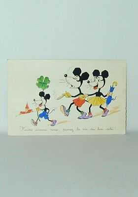 Mickey Mouse Postcard Walking With Minnie Cigar Smoking Deco Ears France 1930s